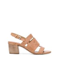 beige Leder Sandaletten von Del Carlo