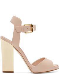 beige Leder Sandaletten von Giuseppe Zanotti