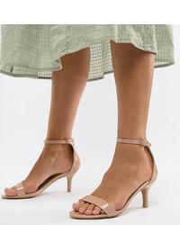 beige Leder Sandaletten von Glamorous Wide Fit