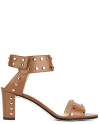 beige Leder Sandaletten von Jimmy Choo