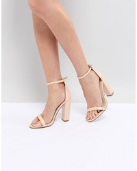 beige Leder Sandaletten von Missguided