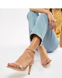 beige Leder Sandaletten von New Look Wide Fit
