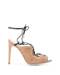 beige Leder Sandaletten von Pollini