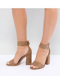 beige Leder Sandaletten von Raid Wide Fit