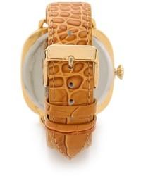 beige Leder Uhr von La Mer