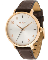 beige Leder Uhr von Nixon
