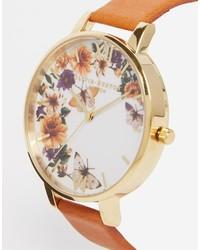 beige Leder Uhr