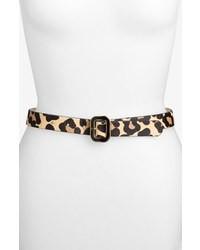 beige Ledergürtel mit Leopardenmuster