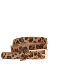 beige Ledergürtel mit Leopardenmuster von Asos