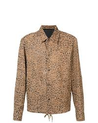 beige Shirtjacke aus Leder mit Leopardenmuster von Alexander Wang