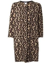 beige Mantel mit Leopardenmuster