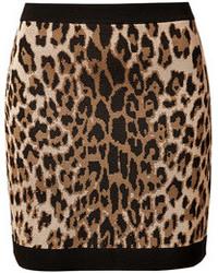 beige Minirock mit Leopardenmuster