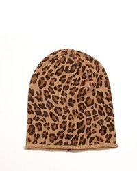 beige Mütze mit Leopardenmuster