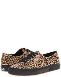 beige niedrige Sneakers mit Leopardenmuster