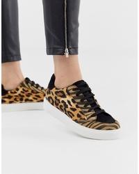 beige niedrige Sneakers mit Leopardenmuster von ASOS DESIGN