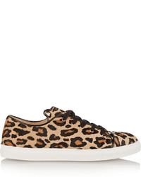 beige niedrige Sneakers mit Leopardenmuster von Charlotte Olympia