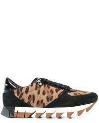 beige niedrige Sneakers mit Leopardenmuster von Dolce & Gabbana