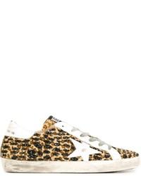 beige niedrige Sneakers mit Leopardenmuster von Golden Goose Deluxe Brand