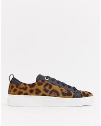 beige niedrige Sneakers mit Leopardenmuster von Ted Baker