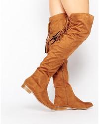 beige Overknee Stiefel aus Wildleder von Missguided