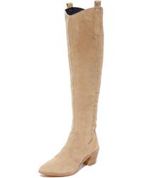 beige Overknee Stiefel aus Wildleder von Rebecca Minkoff