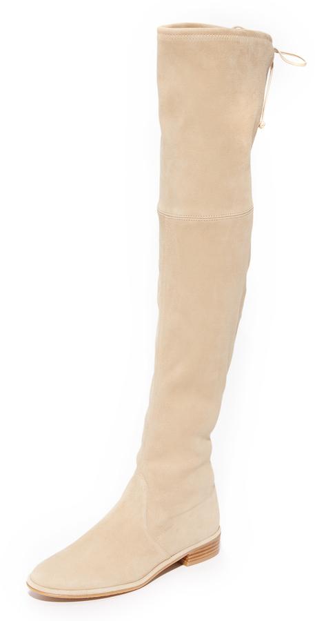 online store 744ec 908be €727, beige Overknee Stiefel aus Wildleder von Stuart Weitzman