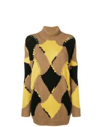 beige Oversize Pullover mit geometrischem Muster von Ermanno Scervino