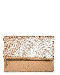 beige Paillette Clutch