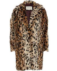 beige Pelz mit Leopardenmuster