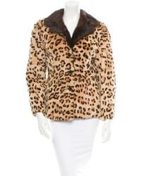 beige Pelzjacke mit Leopardenmuster
