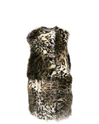 beige Pelzweste mit Leopardenmuster von Stella McCartney