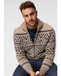 beige Pullover mit einem Reißverschluß von Esprit