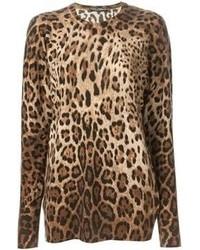 beige Pullover mit einem Rundhalsausschnitt mit Leopardenmuster von Dolce & Gabbana