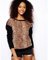 beige Pullover mit einem Rundhalsausschnitt mit Leopardenmuster von Glamorous