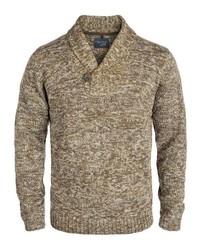 beige Pullover mit einem Schalkragen von BLEND
