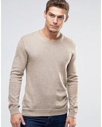 beige Pullover mit einem V-Ausschnitt von Esprit