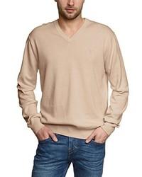 beige Pullover mit einem V-Ausschnitt von Gant