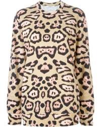 Beige Pullover mit Rundhalsausschnitt mit Leopardenmuster von Givenchy