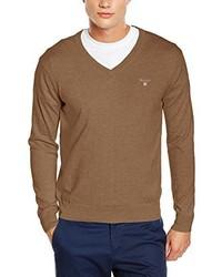 Beige Pullover mit V-Ausschnitt von Gant