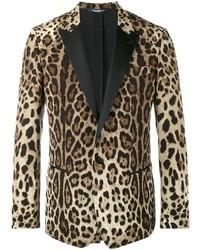 beige Sakko mit Leopardenmuster