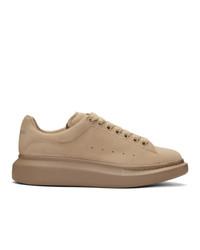 beige Samt niedrige Sneakers von Alexander McQueen