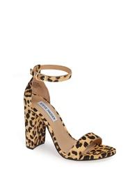 beige Sandaletten aus Kalbshaar mit Leopardenmuster