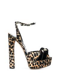 beige Sandaletten mit Leopardenmuster von Casadei