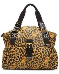 beige Satchel-Tasche aus Leder mit Leopardenmuster