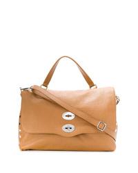 beige Satchel-Tasche aus Leder von Zanellato