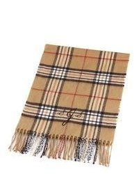 beige Schal mit Schottenmuster