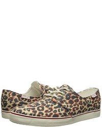 beige Segeltuch niedrige Sneakers mit Leopardenmuster