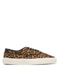 beige Segeltuch niedrige Sneakers mit Leopardenmuster von Saint Laurent