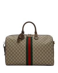 beige Segeltuch Reisetasche von Gucci