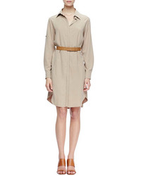 beige Shirtkleid